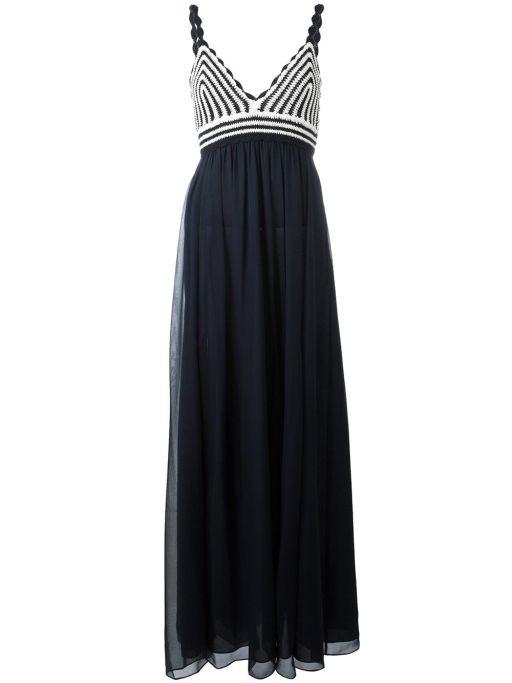 Diane von Fürstenberg - Kleid lang blau weiß Jade