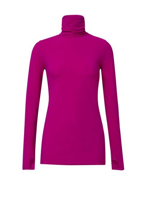 Dorothee Schumacher - Jersey Langarm-Shirt mit Rollkragen fuchsia