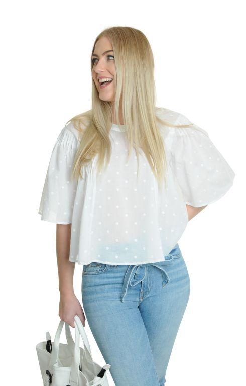 Eva Mann - Baumwollbluse mit Dots