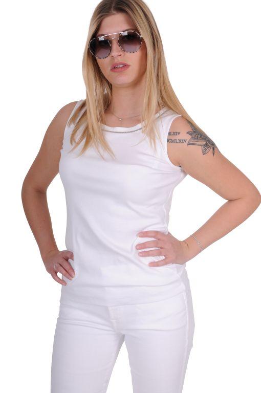 Fabiana Filippi - Baumwolltop mit Silberzierdetail weiß