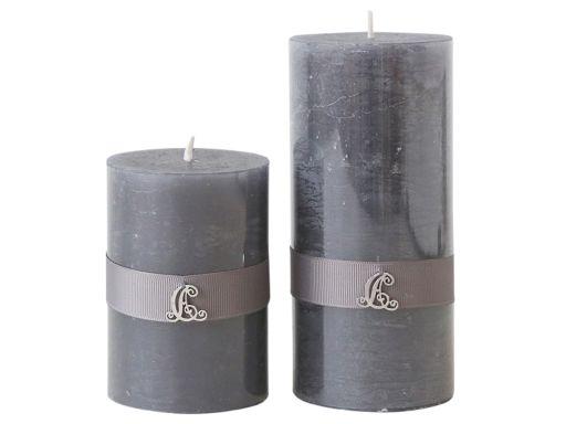 Kerze mit Band klein in Kohle