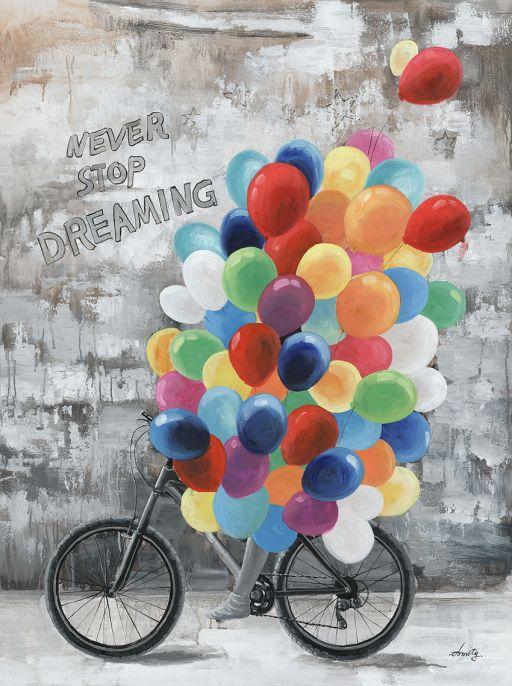 Ölbild Fahrrad mit Luftballon