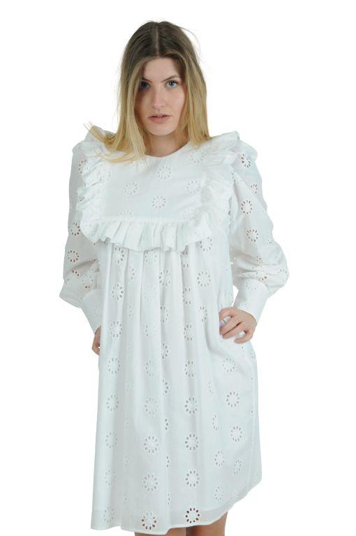 Eva Mann - Kurzes Kleid mit Lochstickerei