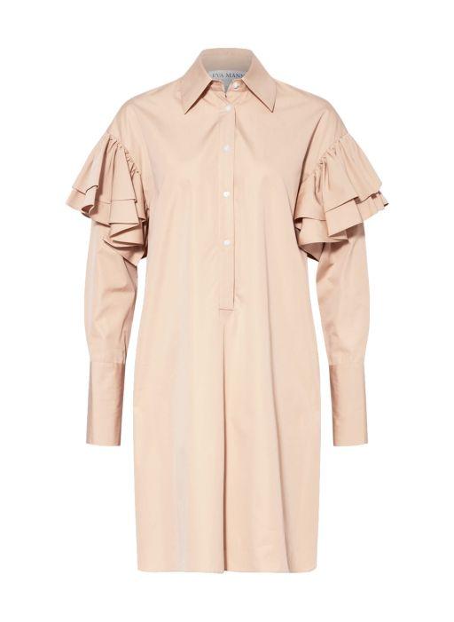Eva Mann - Baumwollkleid mit Rüschendetails am Ärmel beige