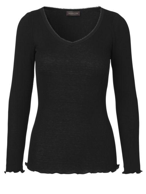 Rosemunde - Shirt mit Fransenrand black