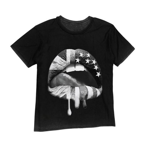"Happiness - T-Shirt Rockettara ""Mouth Flag"" anthrazit"