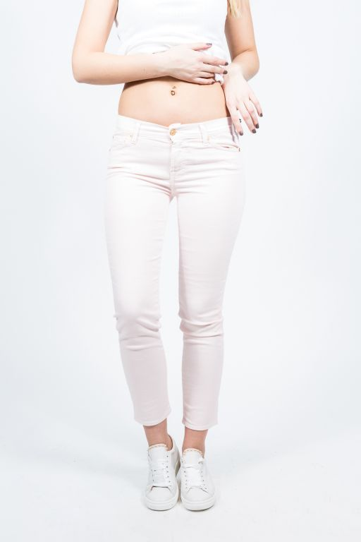 7 For All Mankind - Mid Rise Roxanne Crop Pastel pink