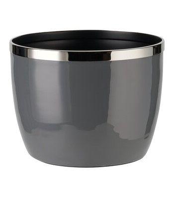Saignon Übertopf mit Metallring M dunkelgrau/silber