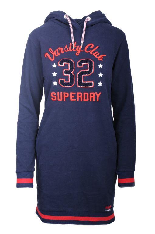 Superdry - Sweatshirt Kleid mit Kapuze und rotem Logo