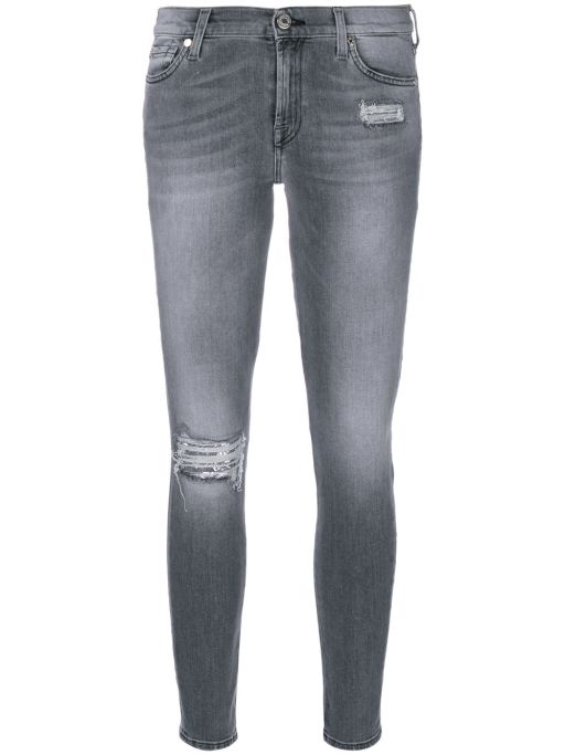 7 For All Mankind - The Skinny Crop destroyed Washed Grey