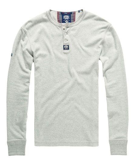 Superdry - Herren Heritage L/S Grandad Shirt grau