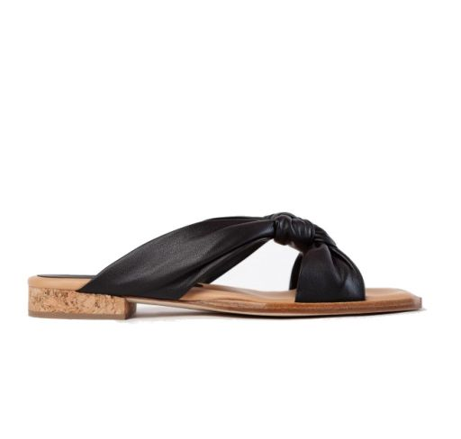 Paloma Barceló - Flache Sandale mit Knoten schwarz