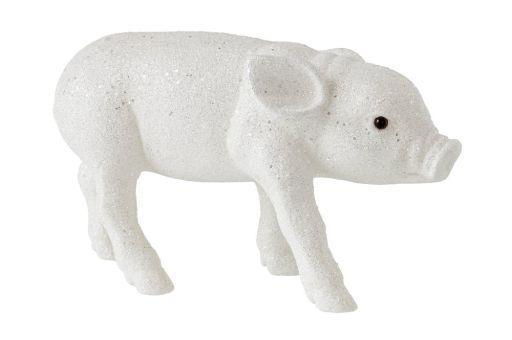 Schweinchen Glitzer weiß L