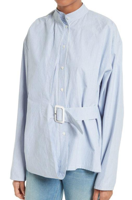 Joseph - Gestreifte Bluse mit Gürtel hellblau