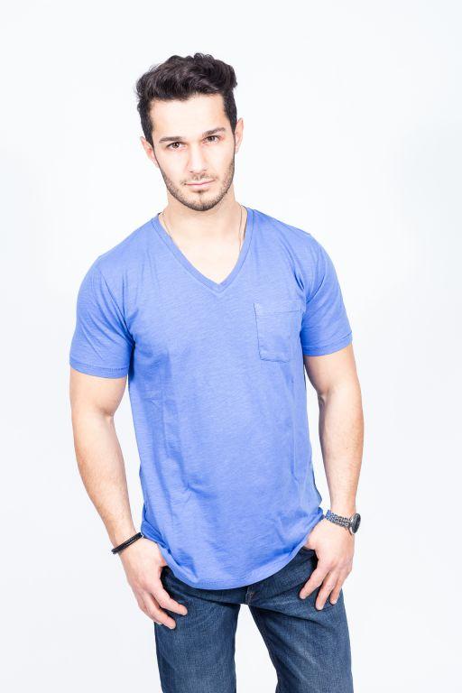 Hartford - Herren T-Shirt mit V-Ausschnitt und Brusttasche royal-blau