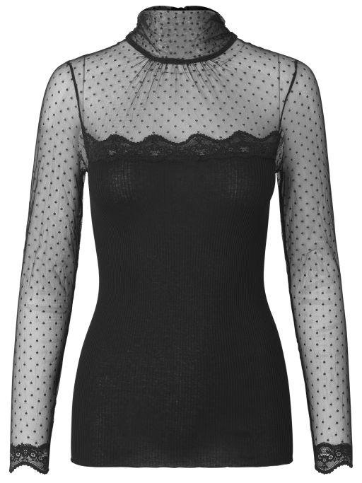 Rosemunde - Blusenshirt mit transparentem Arm und Rolli