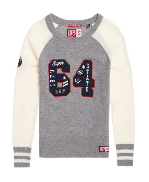 Superdry - Team Pullover Varsity knit grau