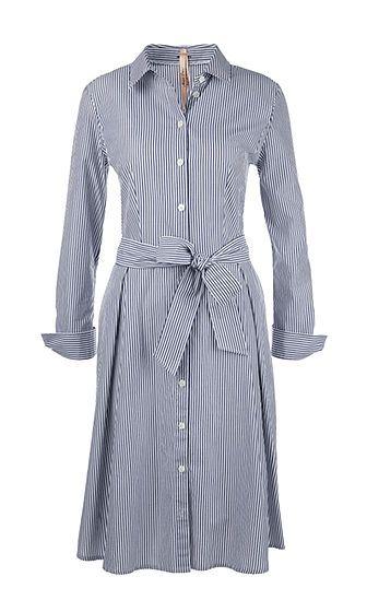 Marc Cain - Hemd Blusen Kleid in blau weiß gestreift