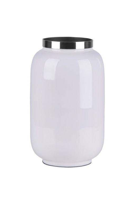 Saigon Vase mit Metallring S weiß/silber