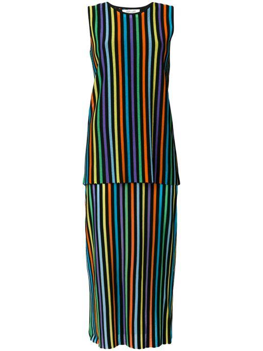 Diane von Fürstenberg - Two Tiered Kleid bunt gestreift