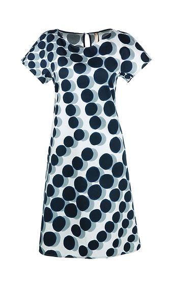 Marc Cain - Ausgestelltes Kleid mit Tupfen in blau weis