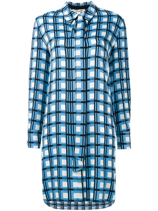 Diane von Fürstenberg - Seiden Hemdblusen Kleid kariert