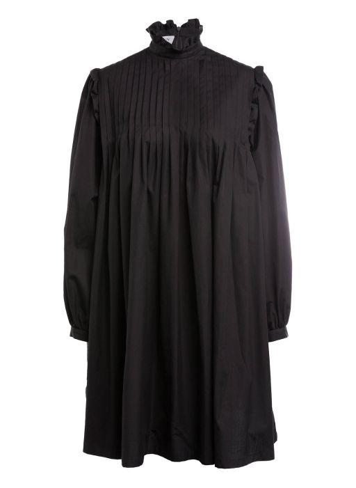 Eva Mann - Baumwollkleid mit Biesendetails black