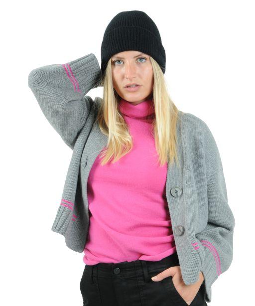 Tabaroni Cashmere - Stricktop mit Rolli pink