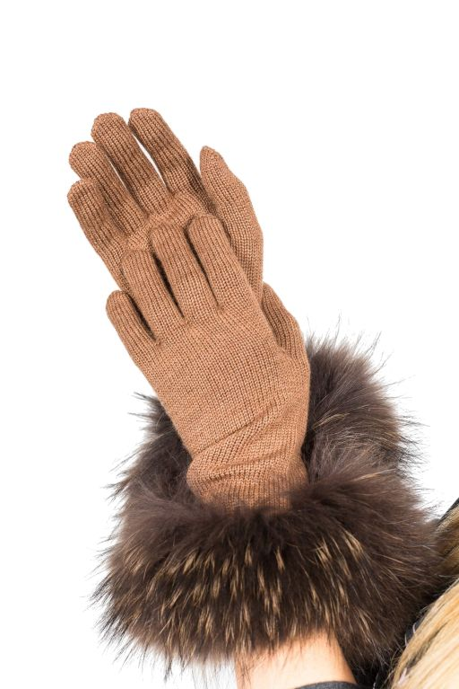 Max Mara - Strickhandschuhe mit Fell in braun