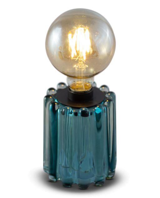 Glasteelicht Louisa mit Streifenstruktur inkl. Glühbirne blau