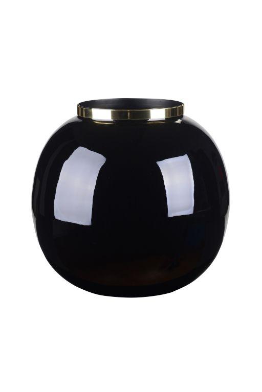 Saigon Vase mit Metallring Kugel Black
