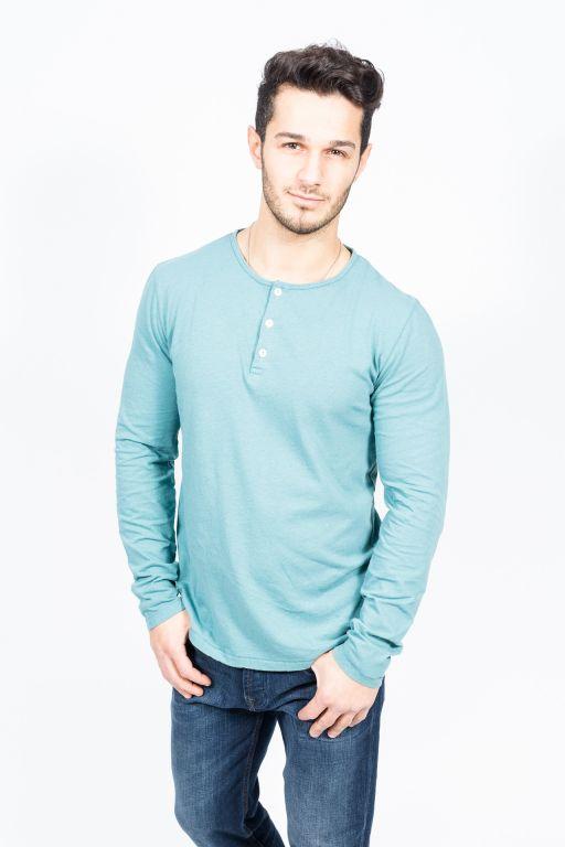 Hartford - Herren langarm Shirt mit Knopfleiste Jade