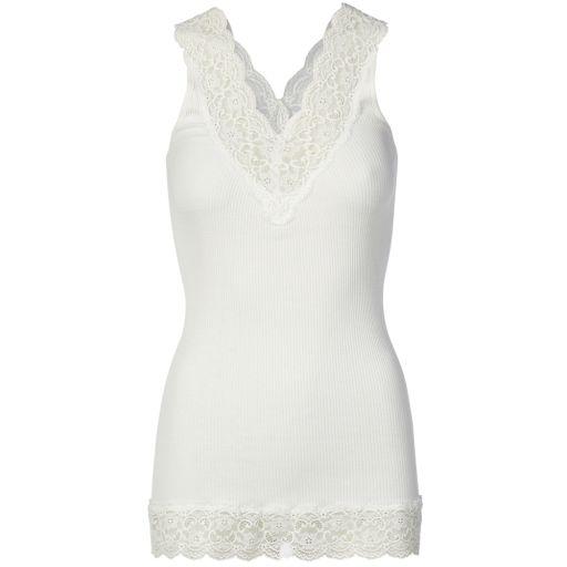 Rosemunde - Top mit breiten Spitzenträgern new white
