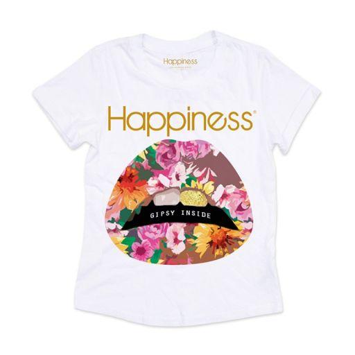 "Happiness - T-Shirt Splendida ""Bocca Gipsy"" Blumen weiß"