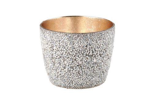 Madras Windlicht M mit Perlen weiß