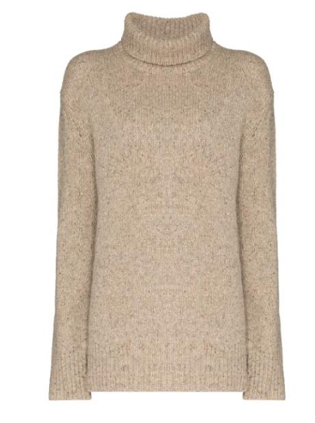 Joseph - Rollkragenpullover Tweed beige