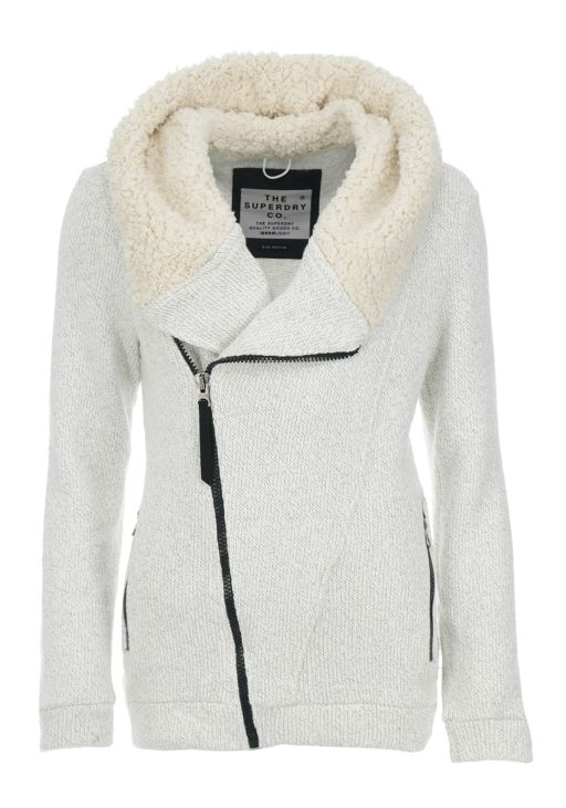 Superdry - Strickjacke Sherpa Biker Grey Marl