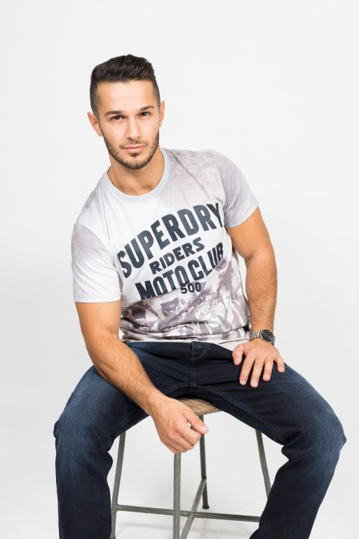 "Superdry - Lässiges Herren T-Shirt ""Moto Club"" in hellgrau"