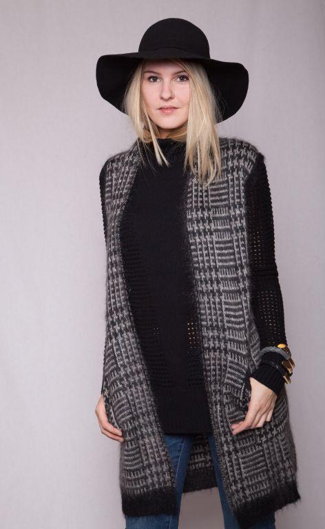 Max Mara - Lange edle Strickweste mit Wolle in grau/schwarz