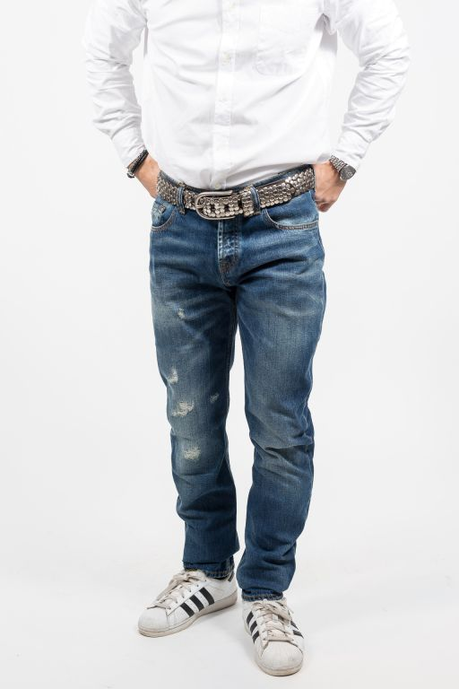 7 For All Mankind - Herren Jeans Chad Beachwood Blue Destroyed