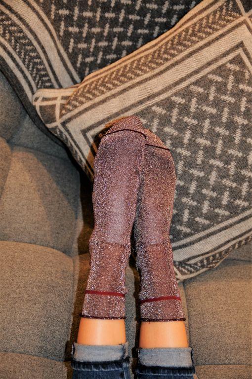Daily Socks - CHLOE Baumwollsöckchen mit Lurexgarn bordeaux