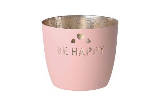 """Madras Windlicht """"Be happy"""" blush"""