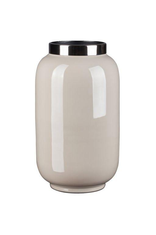 Saignon Vase mit Metallring S sandstone/silber