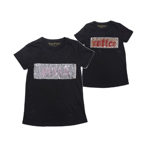"Happiness - T-Shirt Splendida ""Coffee/Pizza"" schwarz mit Pailetten"