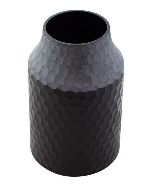 Glasvase Comb mit Wabenstruktur schwarz