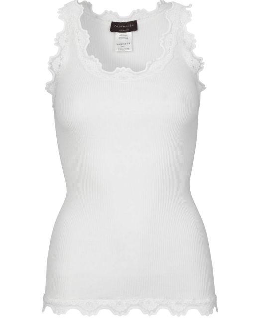 Rosemunde - Top mit schmaler Spitze am Saum new white