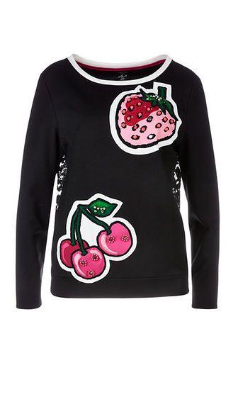 Marc Cain -Sweatshirt mit Erdbeere schwarz
