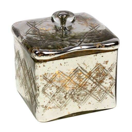 Glasdose mit Deckel antik silber