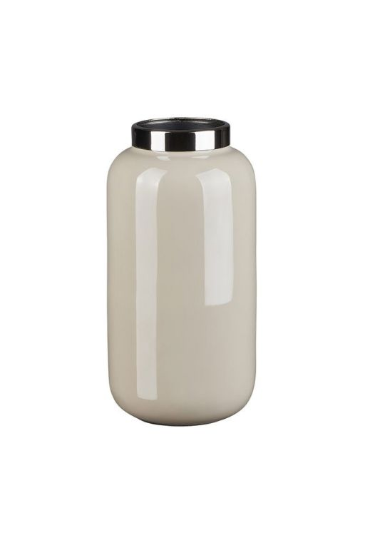 Saignon Vase mit Metallring XS sandstone/silber