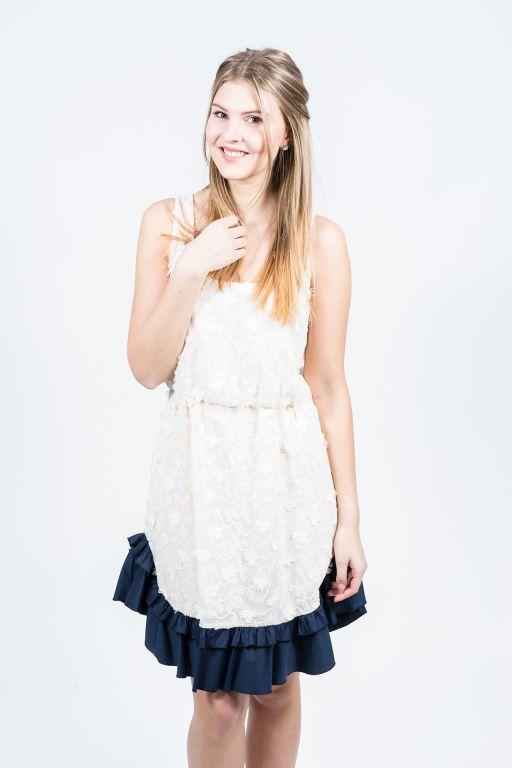 MaxMara - Spitzen Kleid mit Rüsche